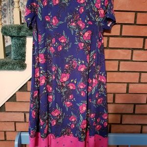 Lularoe floral and pink dot dipped carly